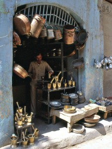 After shopping cookie-cutter Mall shops, I miss the crafter's shops from my travels. I love the mortar and pestle I purchased from this brasscrafter in Aleppo (Syria).