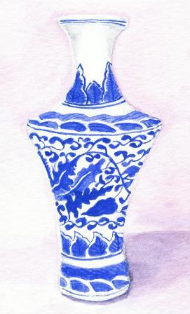 watercolor painting of blue and white vase