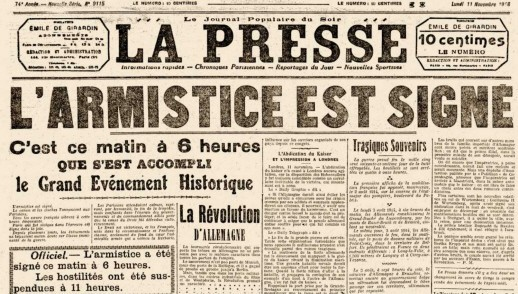french newspaper declaring the signature of the 1918 armistice