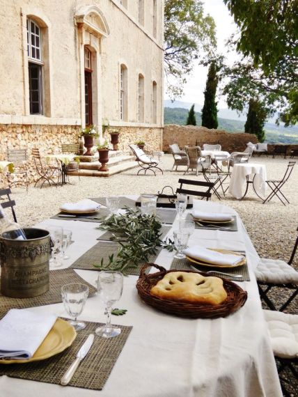 table laid for lunch in provence