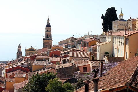 view over the rooftops of menton