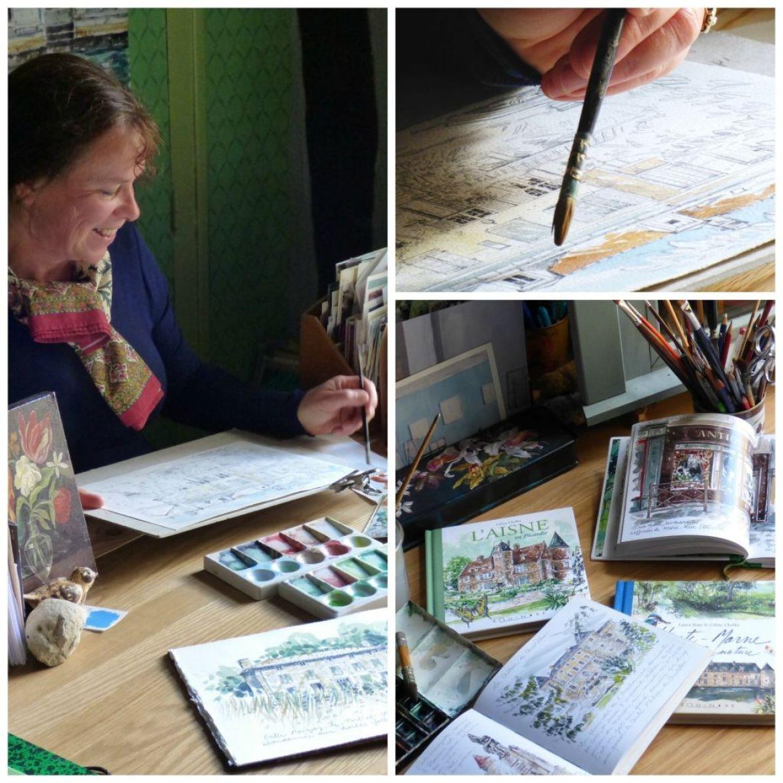 celien chollet painting at her desk