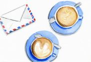 watercoliour illustration of coffee cups and air mail letter