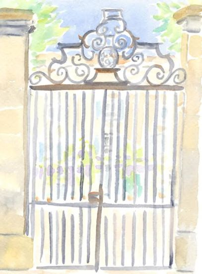 watercoour painting of french gate
