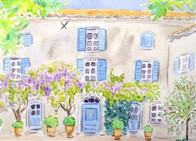 watercolour illustration of french house