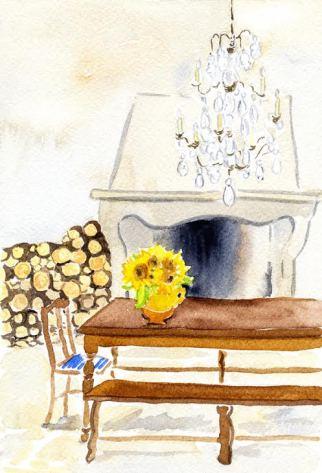 watercolour paitning of fireplace with logs