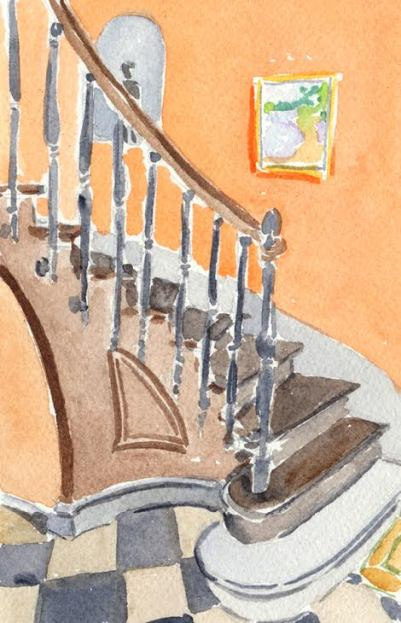 watercolour painting of winding stairs