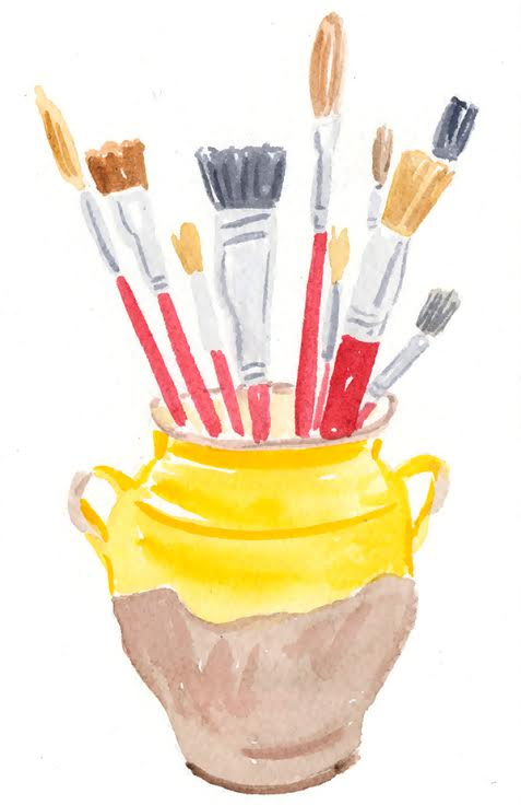 watercolour paintbrushes in pot