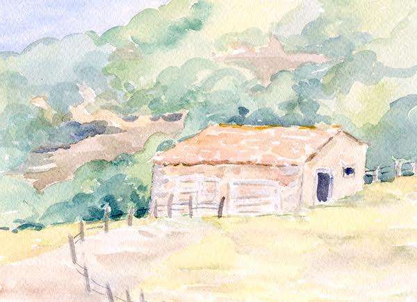 watercolour shepherd's hut