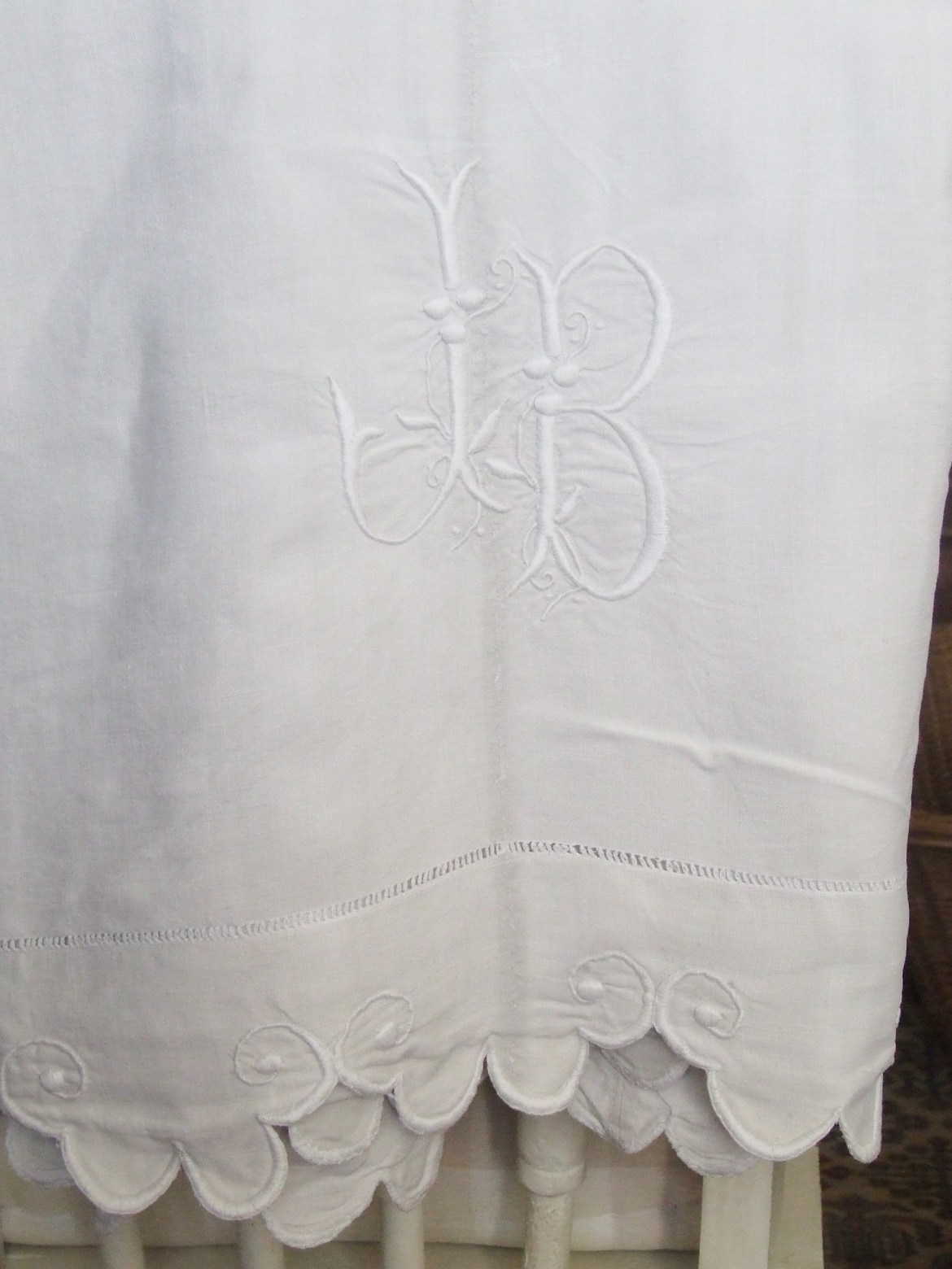 monogrammed antique french sheet