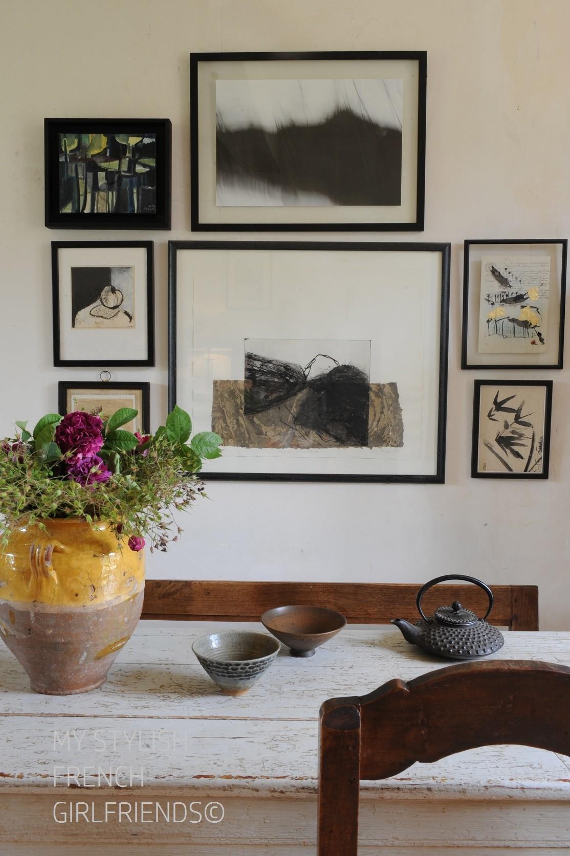 inside home with atrtwork