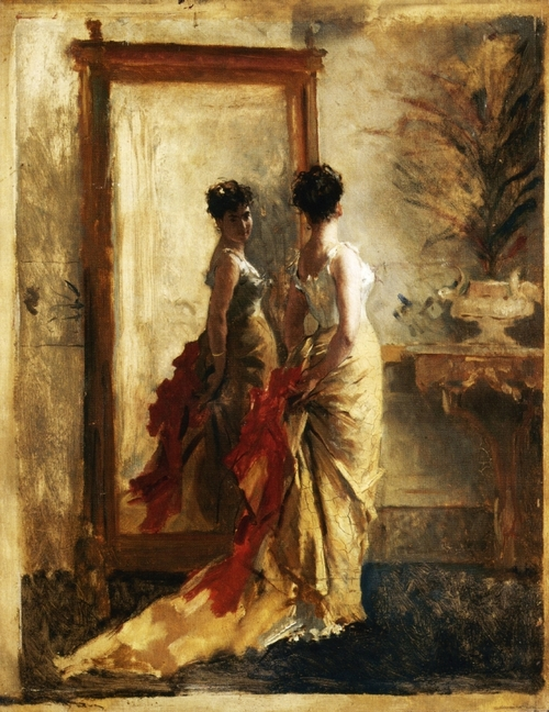 painting of woman in front of mirror