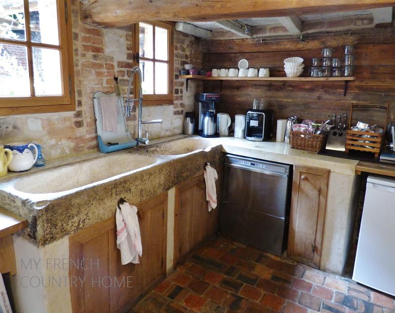 kitchen with stone sink
