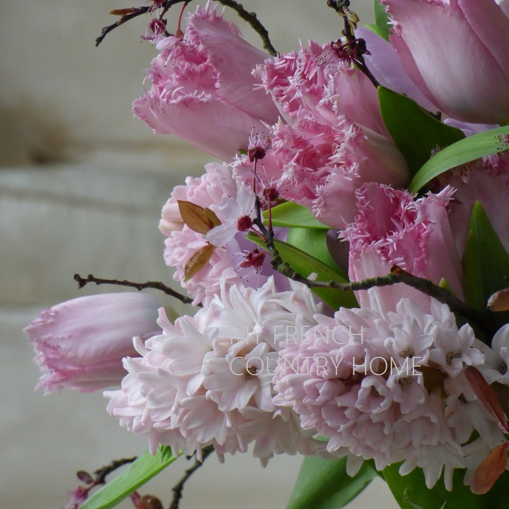 bouquet of pink tulips and hyacinths