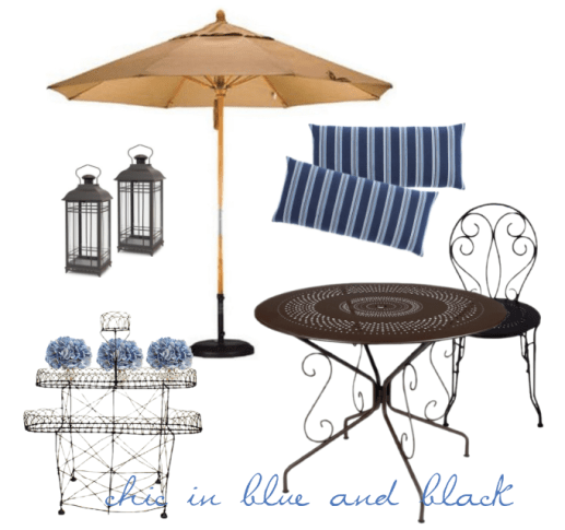 blue and black chic in the garden