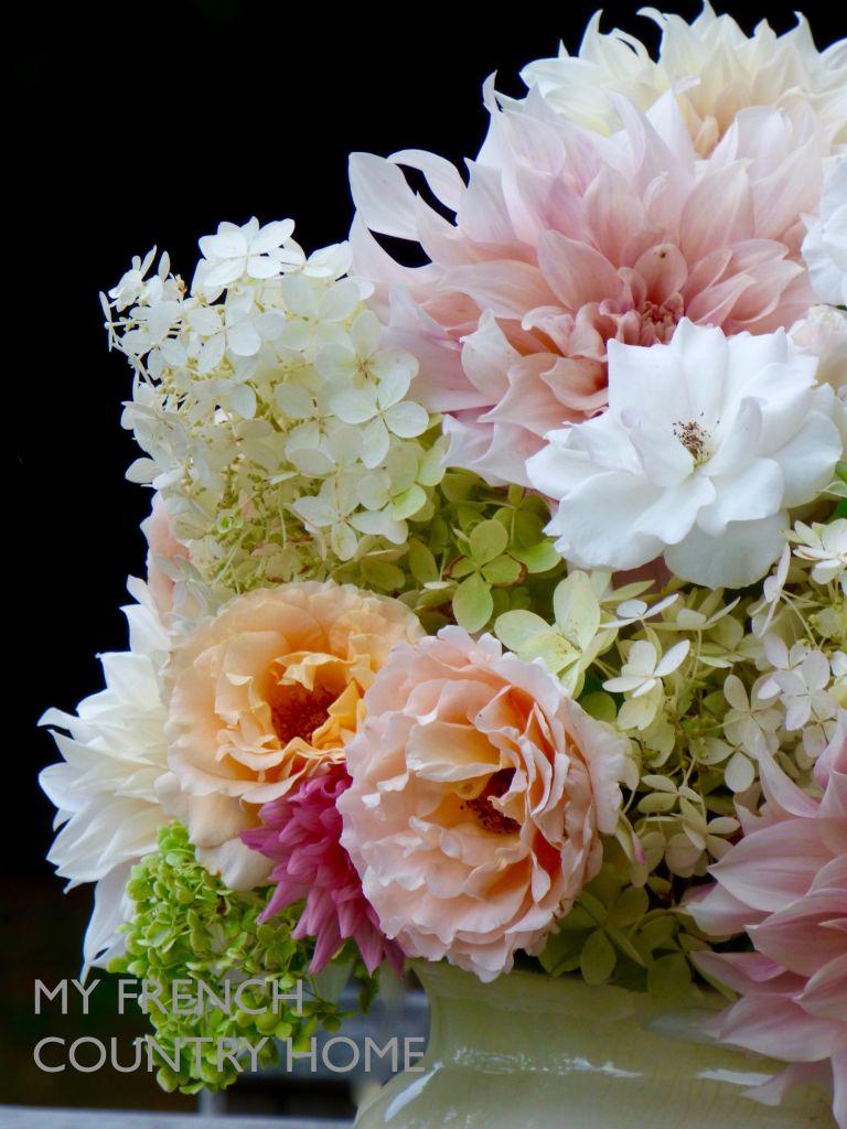 bouqet of dahlias and hydrangeas