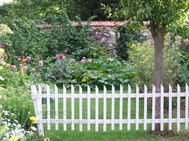 vegeatable garden with white fence