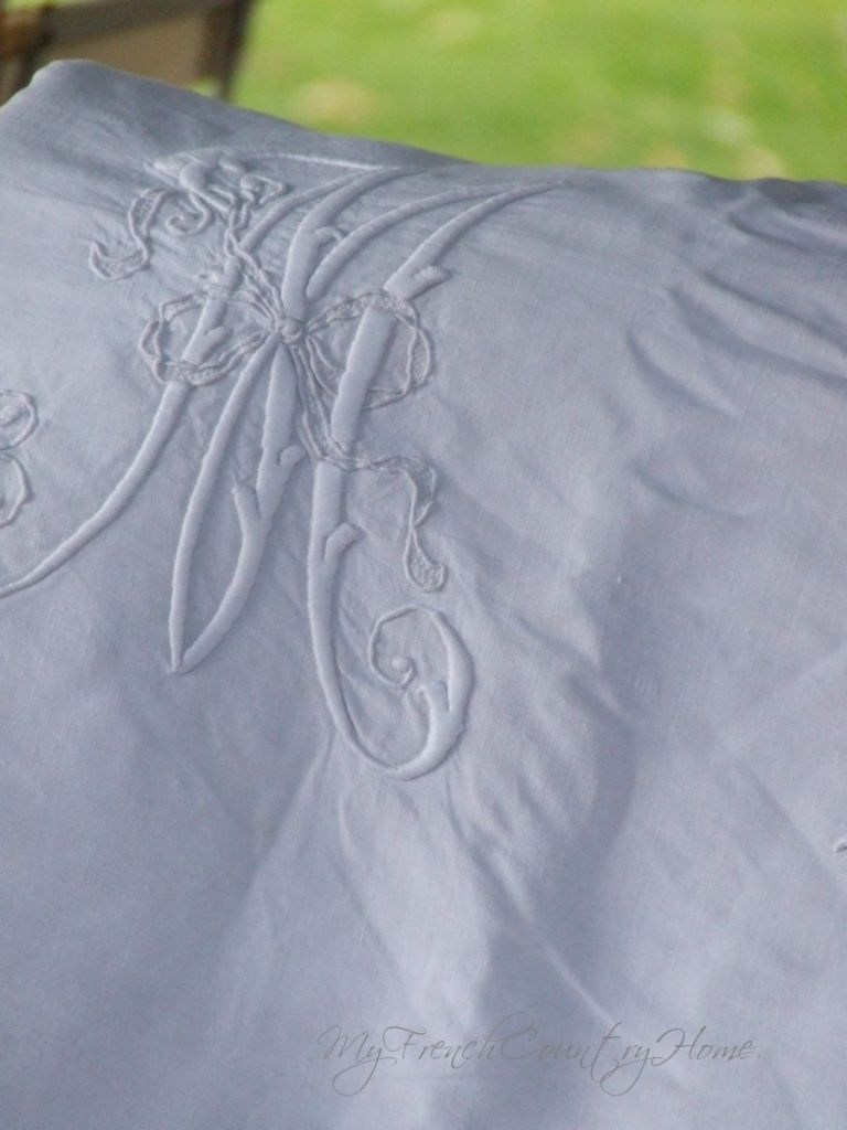 embroidered linen sheet