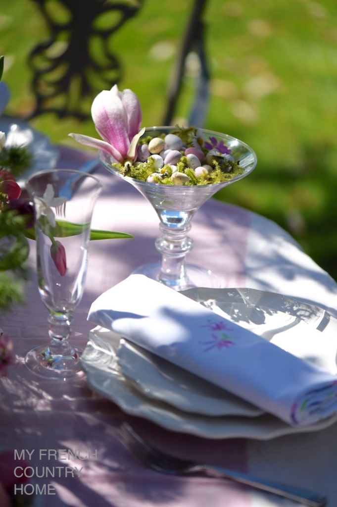 easter table in the garden
