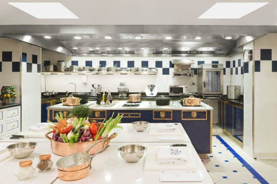 the kitchen at the Ritz Escoffier cooking school in Paris
