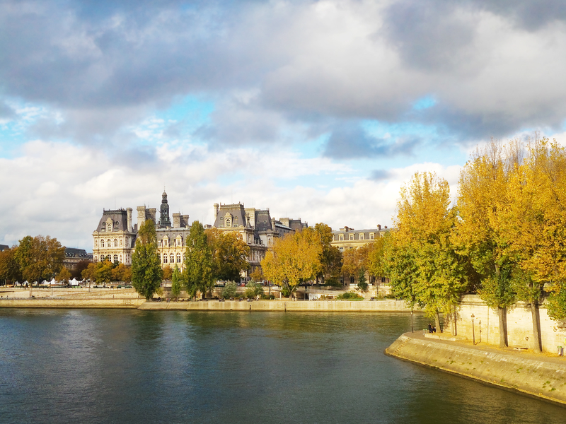 view along the seine in autumn