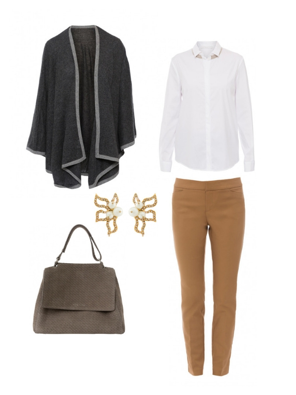 fall outfit- grey cashmere sweater - white blouse with bead detail- taupe handbag- earrings- tan pants