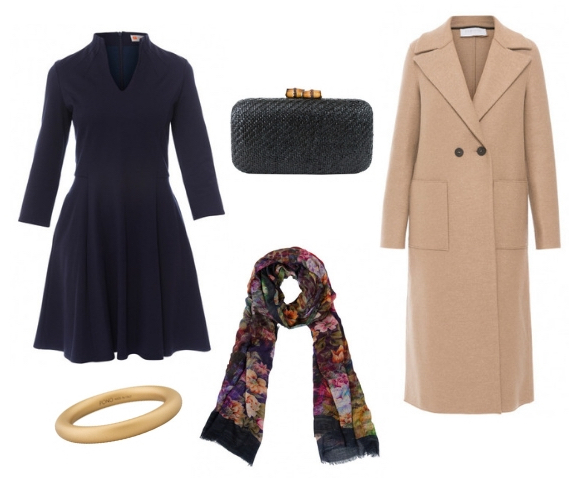 Fall outfit with Halsbrook- blue dress- black clutch- long camel coat- multi colored floral scarf- gold bangle