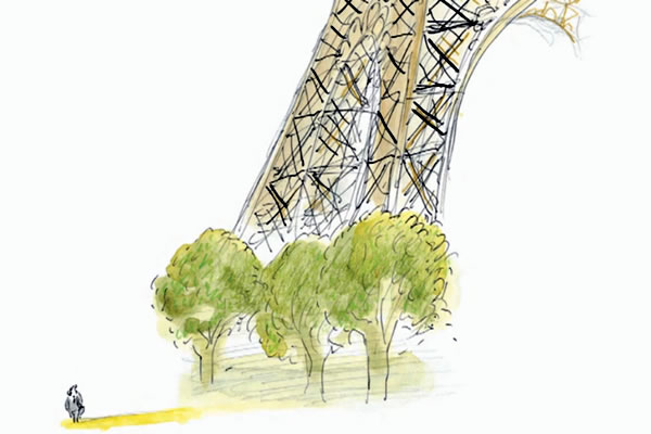 illustration of trees at foot of Eiffel Tower by Jean Jacques Sempé