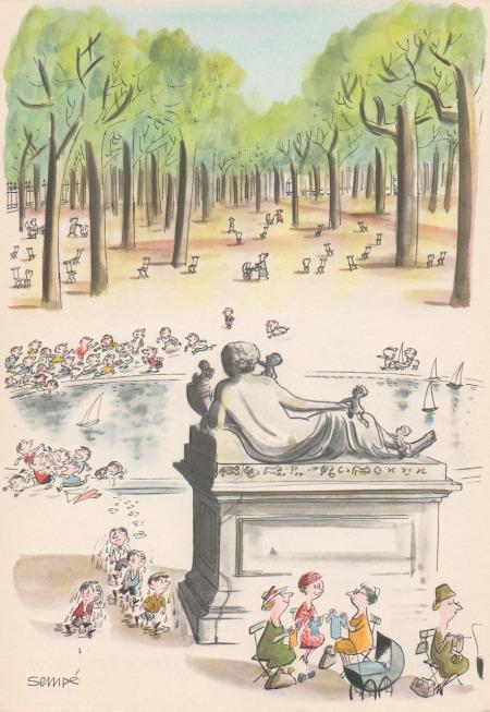 illustration of Gardens in paris by Jean-Jacques Sempé