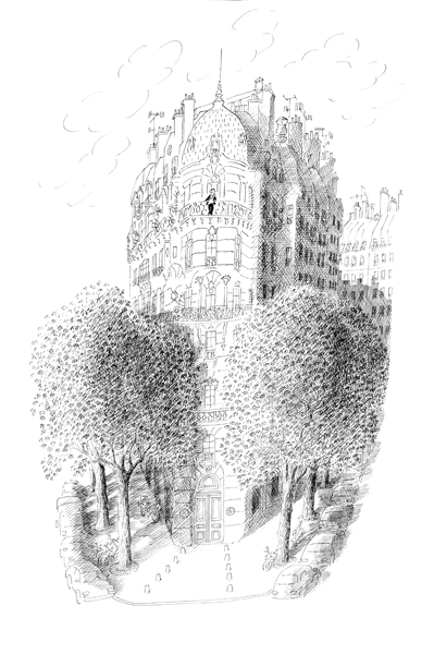 a Haussmannian building in Paris surrounded by trees- jean-jacques sempé, artist and poet- MY FRENCH COUNTRY HOME