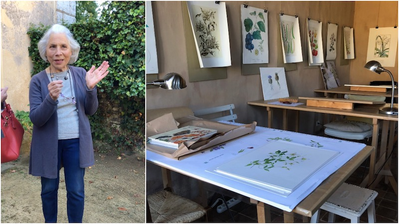 beatrice at her watercolor studio in Normandy which we visit on our Brocante Tour