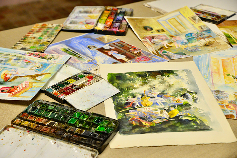 a spread of paintings and paints- in the artists atelier with michel charrier- MY FRENCH COUNTRY HOME