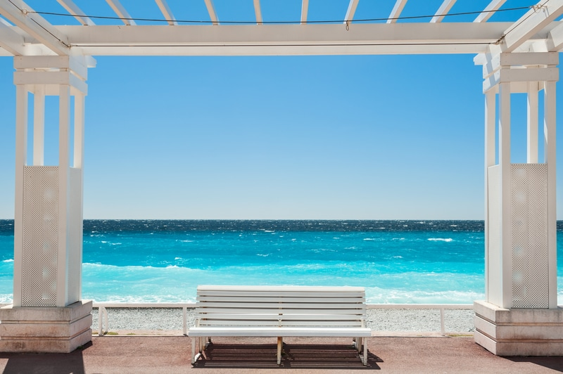 White benches on the Promenade des Anglais in Nice, France