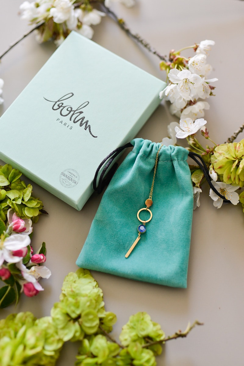 blue and white box- may 2019- my stylish french box- bohm necklace