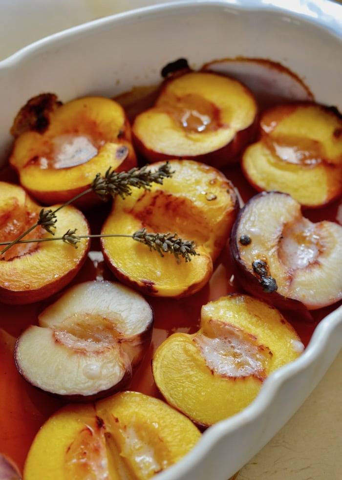 baked peaches with lavender and honey fresh from the oven