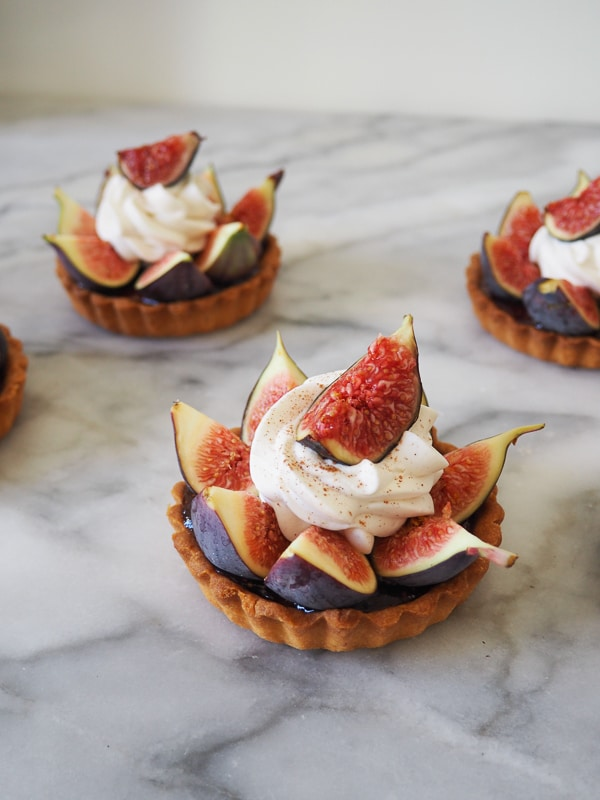 French Fig Tarts with hazelnut and cinnamon whipped cream