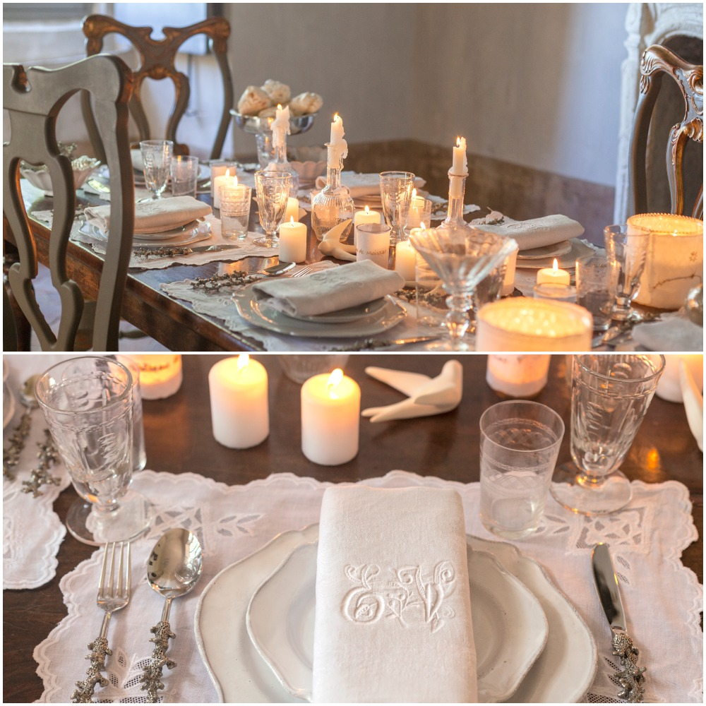 Using white as dominate color in a holiday tablescape | Chateau de Moissac