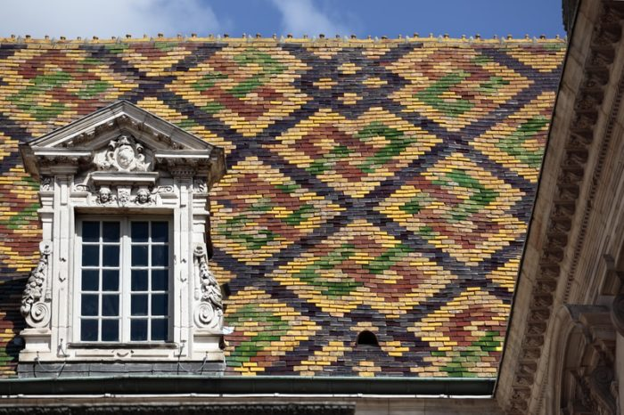 patterned roof tiles in Beaune, Burgundy
