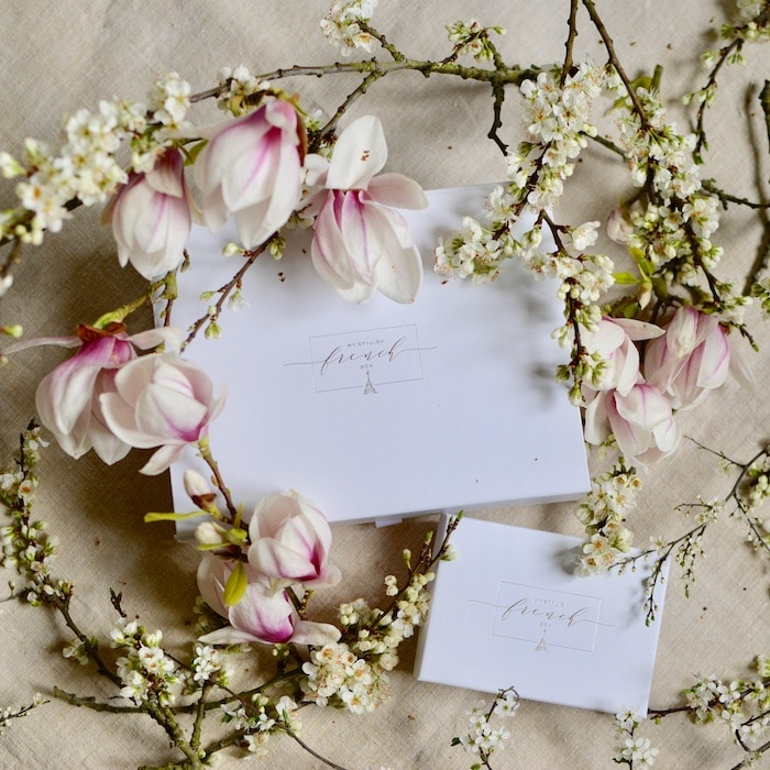 white french gift box with magnolia