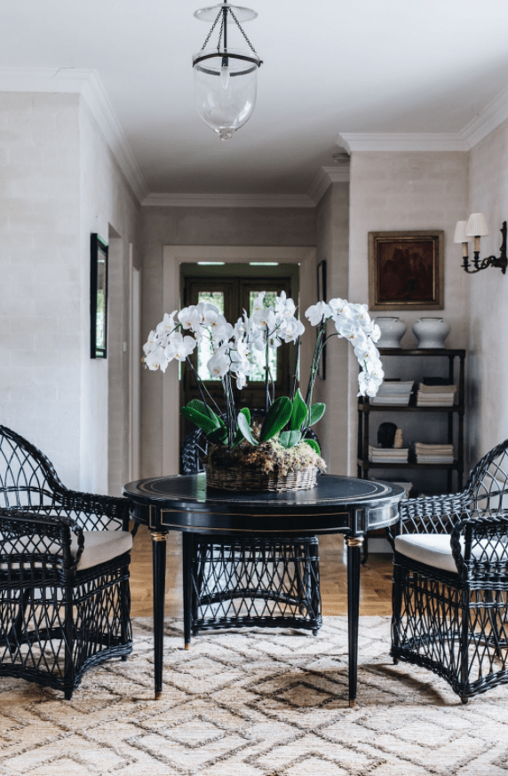 dining room table with orchids