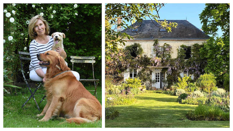 woman with two dogs and a french country home