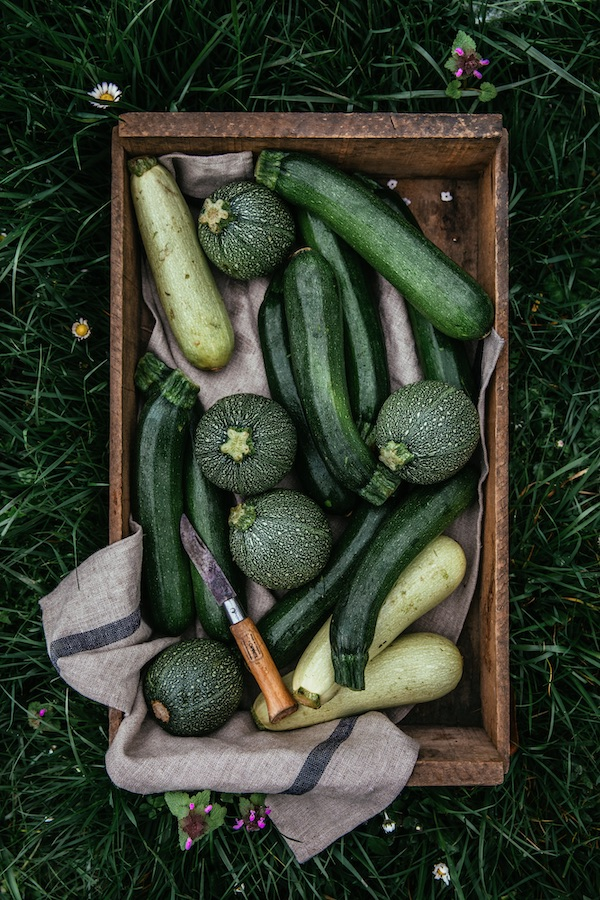 box of different kinds of zucchini