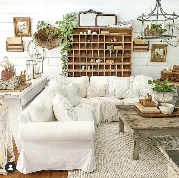 living room with vintage decor
