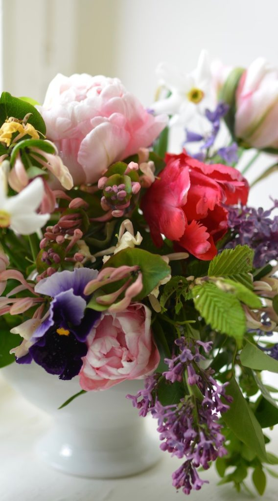 bouquet of tulips and lilac from the garden