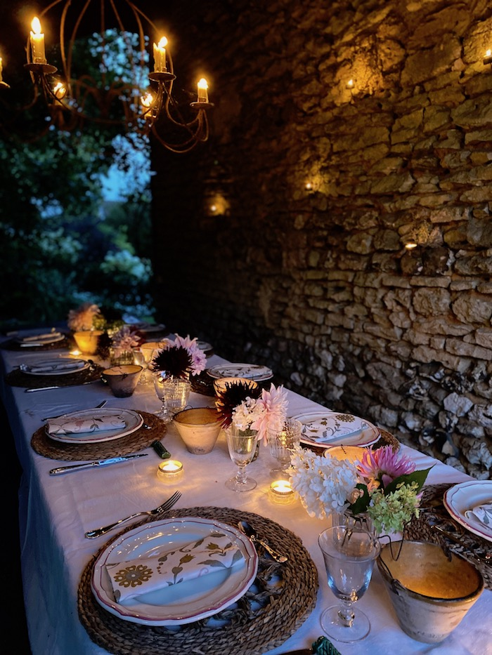 table laid for outdoor dining