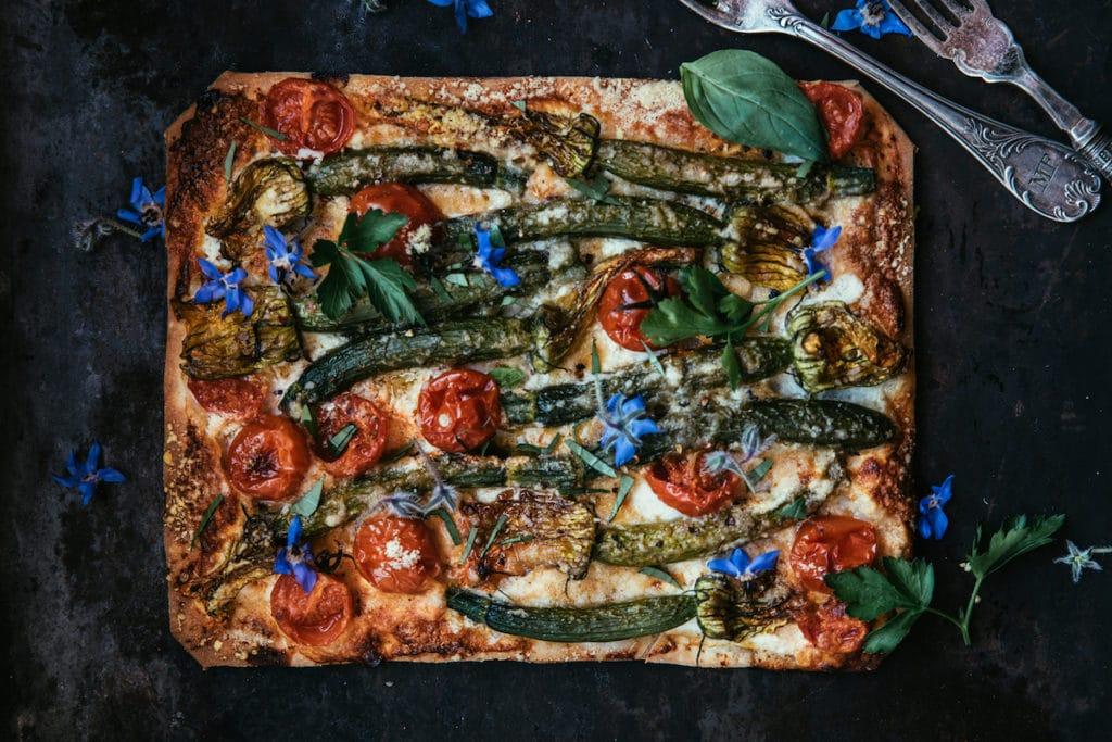 zucchini flower tart