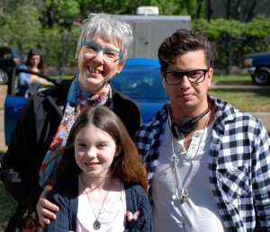Sharon Y. Cobb, Kennedy Brice and L. Gustavo Cooper on set of June.