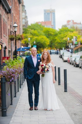 Bride and Groom Portrait - Market Street - Offbeat Bride - St.Lawrence Market Wedding - Toronto Wedding Photographer