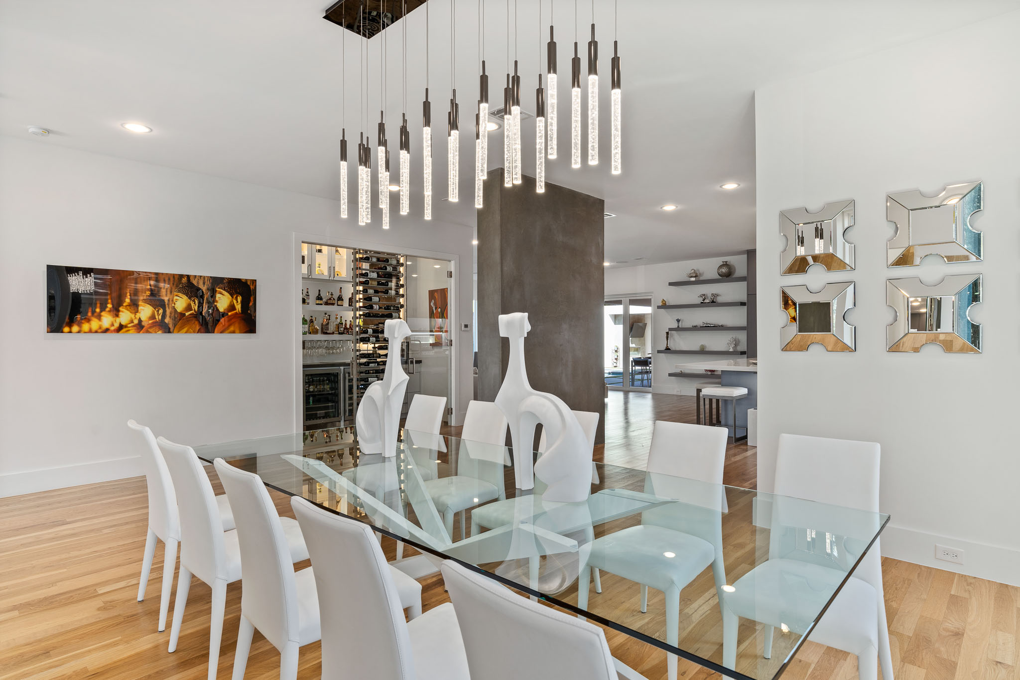 Bright white and modern dining room in Dallas home for sale