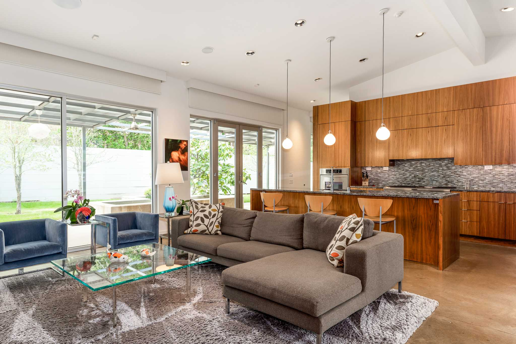 Living room in Oak Cliff home designed by renowned architect